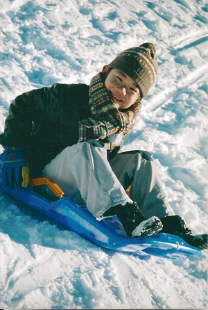 2002 in the Pyrenees, having fun with the sleigh!