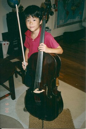 "2003 in Barcelona, with his then new cello named ""Chocolate."""