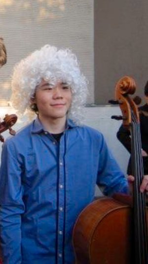 Winning the Virtuoso Competition with the wig.