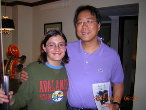 """Santiago (12 years old) meets Yo-Yo Ma, who gave him a private masterclass. """"Certainly one of the best experiences of my life,"""" says Santiago."""