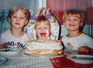 Julia's 2nd birthday, with her brothers in her home in Krakow.
