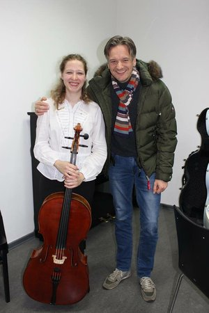 With her Prof., Jens Peter Maintz, after playing Kodály's Solo Sonata at the University