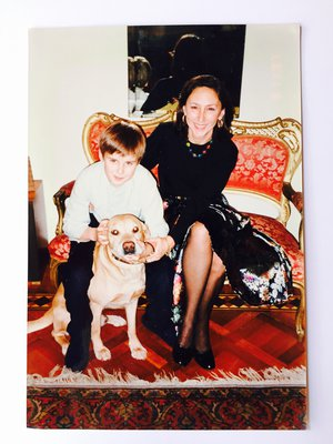 Emanuel with his mother and his dog in his home in Milano on his birthday. Maybe in 1996