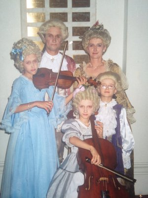 Kristine's family dressed like Mozart's family!